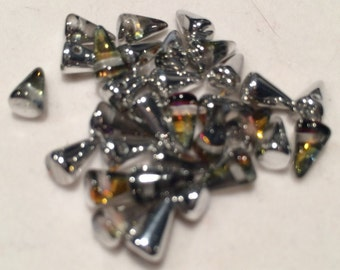 Spike Beads, 5x8mm, Crystal Volcano, 00030-29942, 25 Beads, Czech Glass