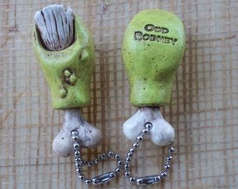 FINK TOE Keychain -    Zombie Toe Keychain   Kustom Kulture - HotRod - Chopper - Bobber - Creepy