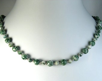 """Tree Agate Necklace Silver 16"""""""