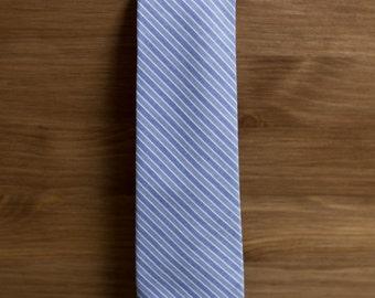 men's necktie - blue grey stripes