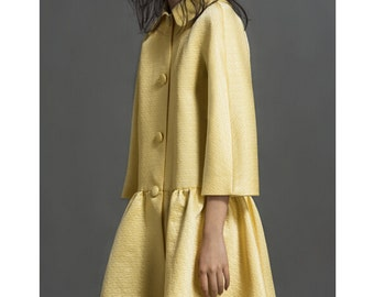 CLEARANCE: Silk and cotton mix jacket with peter pan collar, brocade blazer, A-Line hem, light yellow, black jacket, dress - Butterfly