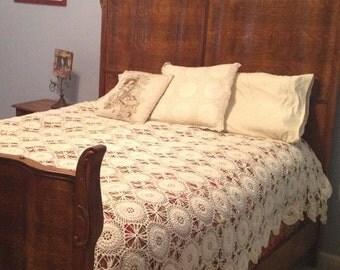 Vintage Hand Crochet Coverlet/Blanket/Bedspread