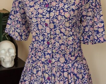 80s does 50s Floral Cotton Lawn Liberty Print Style Drop Waist Day / Swing / Tea Dress, Size L
