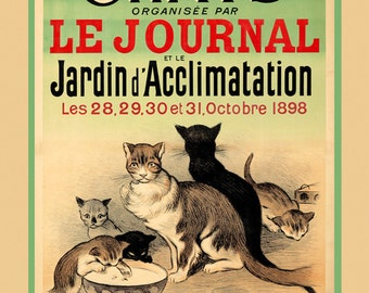 """Cats 16""""x20"""" Option  Kittens Drinking Milk Exposition Chats 1898 France French Vintage Poster Repro Free S/H in USA"""