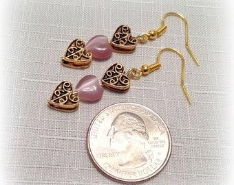 Valentine Earrings - Gold & Pink, Heart Dangle Earrings, Valentine Gift Idea