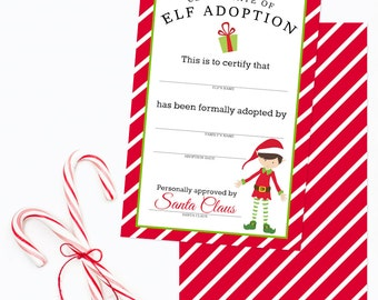 Items similar to elf on the shelf certificate of adoption african american elf pdf elf on the for Elf adoption certificate