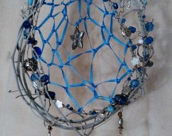Coastal Blue & White Dream Catcher