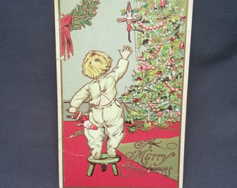 Antique Postcard A Merry Christmas 1909 Embossed Christmas Tree Child Santa 1 Cent Stamp 1900s
