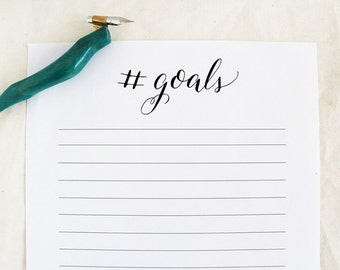 Goals Printable - To Do List - Hashtag Goals - Calligraphy - Chores Printable - Instant Download - Handwritten - Wedding To Do