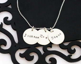 Personalized Mommy necklace, 3 discs, hand stamped names, straight