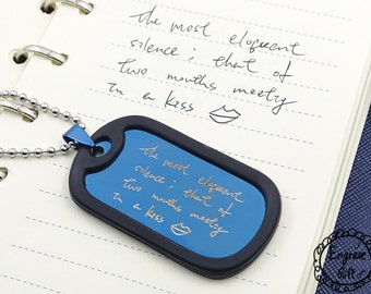 Custom Steel Dog Tag - Actual Handwriting or Fingerprint Option, Hand crafted fingerprint gifts, Reveal Party - Anniversary Gift Wedding