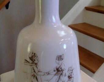 Antique Milk Glass Dresser/ Vanity Bottle without a stopper/ Dutch Children/ Shabby Chic/Vase/Cottage Chic