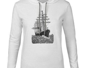 Mintage Rough Seas Mens Fine Jersey Hooded T-Shirt