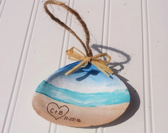 Personalized Beach Ornament - Hand Painted