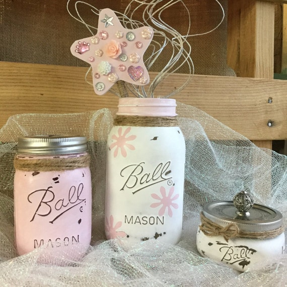 mason jar nursery set nursery decor baby by vintagedaisyhome. Black Bedroom Furniture Sets. Home Design Ideas