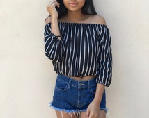 NEW! Off The Shoulder Top, Women's Blouses, Women's Top, Striped Crop Top, Festival Top, Boho Top, Crop Top, Women's Crop Top, Basic Top