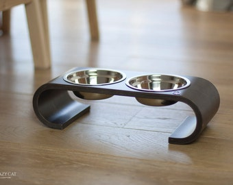 Double bowl cat feeder, cat bowls, cat dish, pet feeder, cat and dog bowl, plywood, modern cat bowls, cat feeder, pet supplies