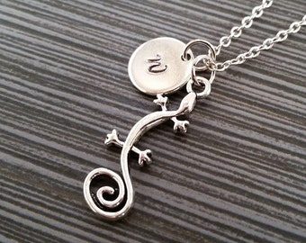 Silver Gecko Necklace - Lizard Charm Pendant - Personalized Necklace - Custom Gift - Initial Necklace - Personalized Reptile Necklace
