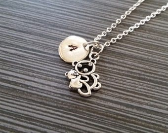 Silver Mommy and Baby Teddy Bear Necklace - New Mom Necklace - Personalized Necklace - Mom Baby Initial Necklace - Mother Gift
