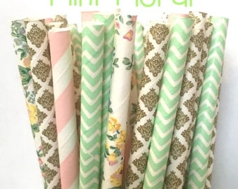 2.85 US Shipping -Mint Floral Paper Straw Mix - Paper Straws - Cake Pop Sticks - Drinking Straws