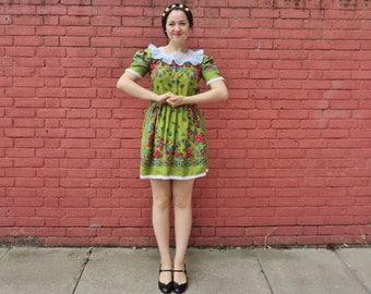 Vintage 60's Mini Dress Heidi Mountain Girl Green Summer Dress Size M