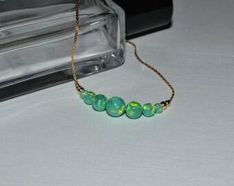 OPAL BRACELET // Dot Bracelet Opal - Opal Ball Bracelet - Opal Bar Bracelet - Kiwi Opal Bead Bracelet - Opal Charm Bracelet