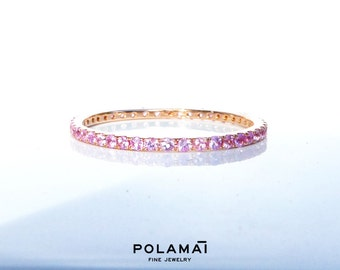 Light Pink Sapphire Eternity Ring . Half or Full Eternity 14k 18k . Wedding Band . Stacking Ring . Yellow White Rose Solid Gold .  Polamai
