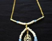Long Boho neckalce, 18K Gold filled beaded feather pendant with Opal beads.