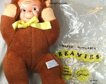 Vintage Gund Dreamies Rubber Face Monkey Doll & Original Bag...J. Swedlin