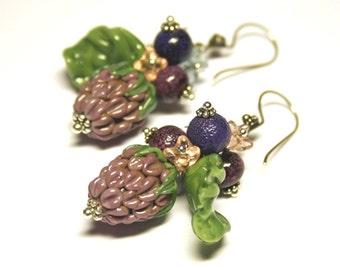 Handmade lampwork berries earrrings, glass earrings, raspberries earrings, lampwork earrings, glass berries earrings