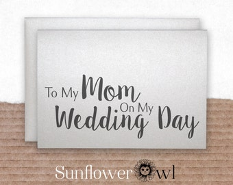 To my mom on my wedding day wedding thank you card mother of the bride groom gift note to my parents