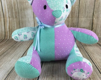 Memory Bear - Baby Clothes Teddy Bear - Memorial Bear - Patchwork Teddy Bear - Keepsake Teddy Bear - Upcycled Bear - ReLoved Bear