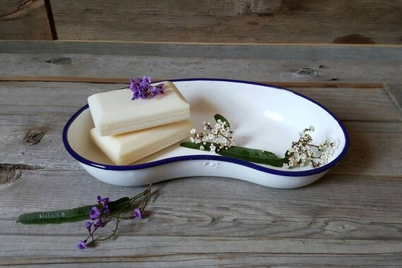Vintage Enamel Soap Dish Enamel Medical Dish Bathroom Dish