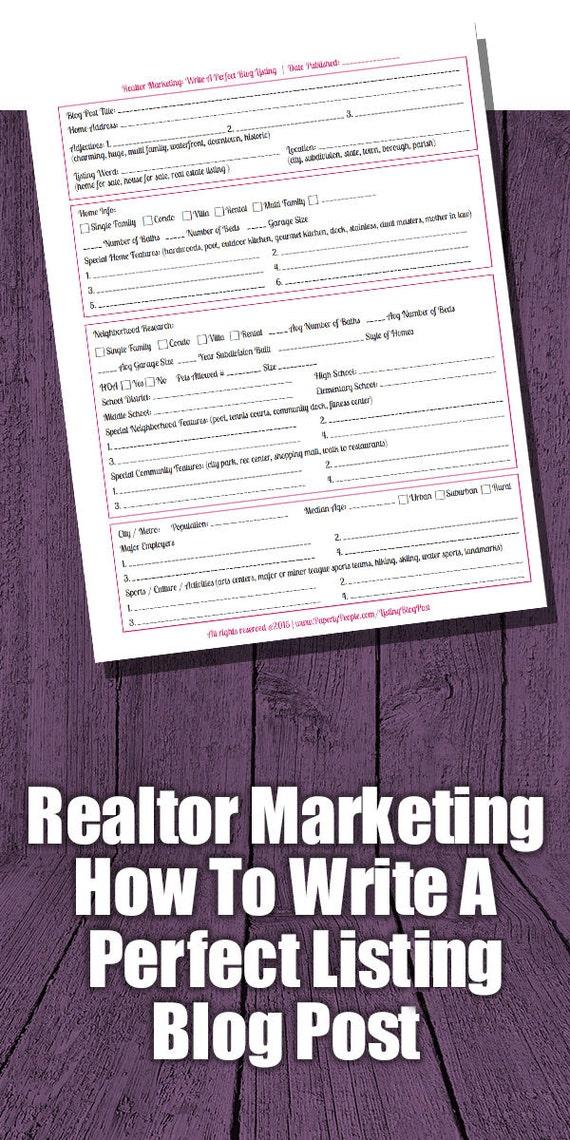 Realtor Marketing - Perfect Listing Blog Post Worksheet, SEO, Real Estate Agent, Real Estate Farming, Real Estate Marketing