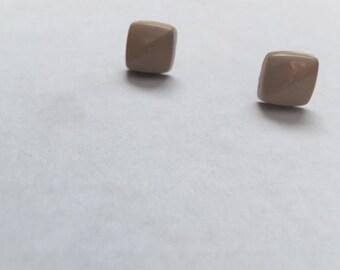 Desert Taupe Pyramid Stud Earrings