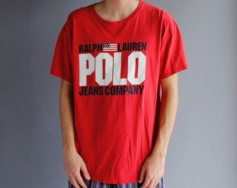 ON SALE Vintage 90s Ralph Lauren Polo Jeans Company T-Shirt - Huge Polo Logo - Large