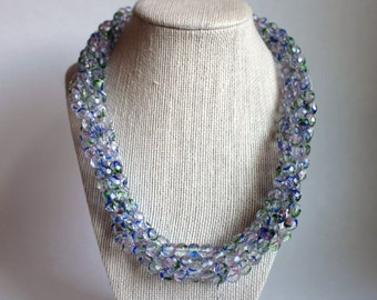 Clearance Necklace, Clear and Blue Beaded Necklace, Beaded Statement Necklace, Chunky Beaded Necklace, Multi Strand Bead Necklace