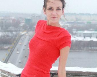 Hand knitted dress/ Knit Dress/ Knitted Dress/ Woman Dress/ Handknitted dress/ Red dress/MADE to ORDER