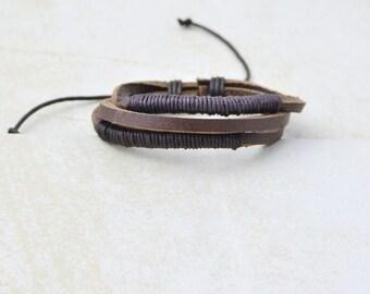 leather bracelet • men women • brown
