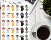 Cats In Cool Hats Planner Stickers | Cute Cats | Cat Lover (S-073)