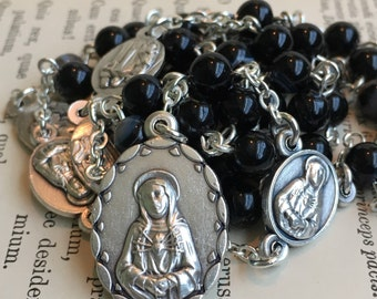 Servite rosary/Chaplet of the Seven Sorrows, black agate beads, handmade