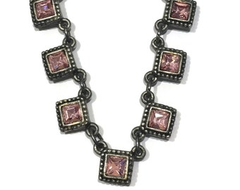 Vintage Robert Rose Necklace square pink rhinestone jewelry