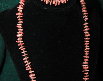 Red coral bead necklace and matching bracelet