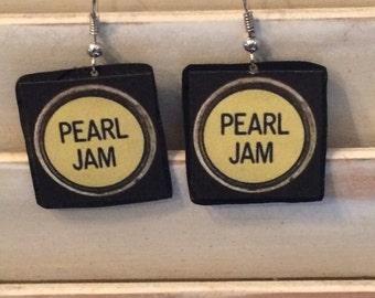 Pearl Jam vinyl record earrings