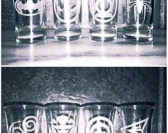 Superhero shot glasses