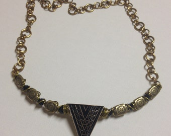 Gold Wire Wrapped Triangle Pendant Necklace