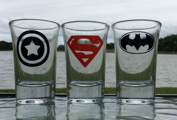 Set of 3 Super heroes Shot Glasses, Captain America, Superman, Batman, Marvel Shot Glasses, Boyfriend Gift, Valentines gift, Gift for Him