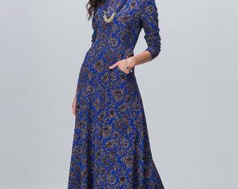 Maxi dress with long sleeves Knitted  dress Long floral dress Dress with pockets