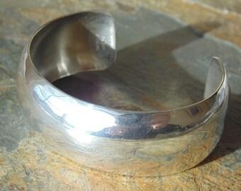 Carol Felley ~ Vintage Sterling Silver Wide Domed Smooth Cuff Bracelet