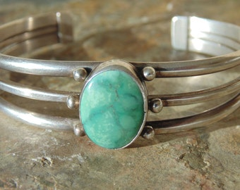 Southwestern Sterling Silver and Green Stone Cuff Bracelet ~ 20 Grams